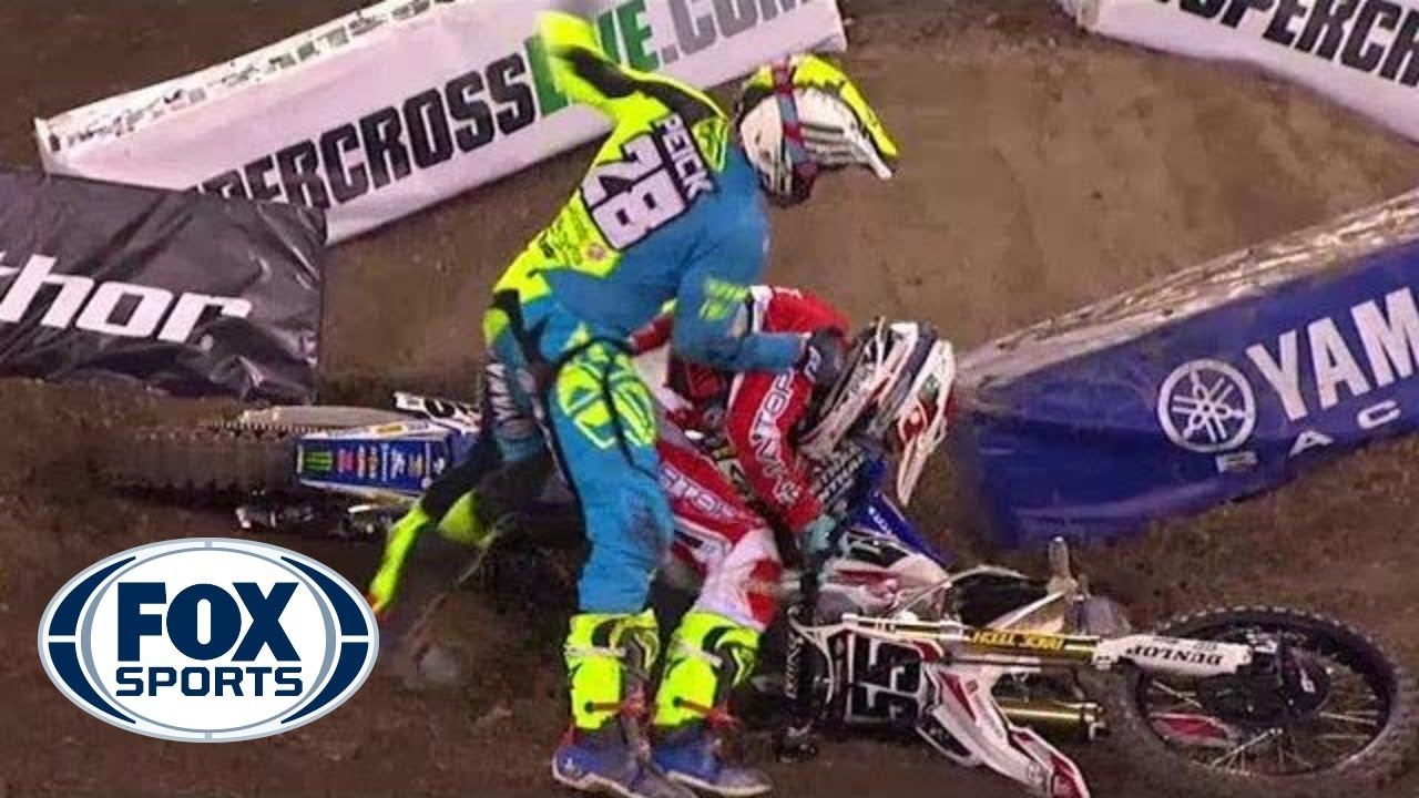 Riders Fight After Crash At Supercross Event