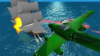 Beamng drive - Destroying Pirate Ships With Airplanes