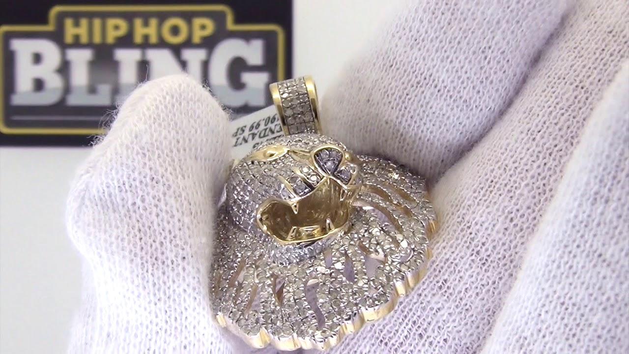 9b08d169a20f5 1.03 Carat Diamond Lion Head Pendant Gold .925 Sterling Silver