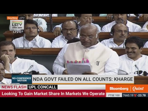 #NoConfidenceMotion: Congress Leader Mallikarjun Kharge Speaks In Lok Sabha