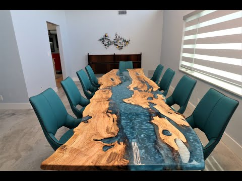 OCEAN Epoxy Resin and Olive Wood Dining Table by Odywood