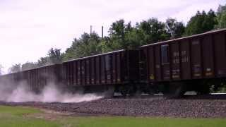 BNSF Ballast Train Dumps Rock