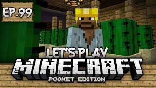 Survival Let's Play Ep. 99 - HORSE ARMOR & AUTOMATIC CACTUS FARM!!! - Minecraft PE (Pocket Edition)