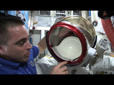 Astronaut Chris Cassidy Shows Off Faulty Spacesuit (Part 1)