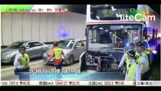大欖隧道兩巴士相撞初步21人傷,  現場來回方向部分行車線封閉