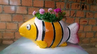 DIY / Cement and sand to decorate your garden // Cute fish shaped flower pot