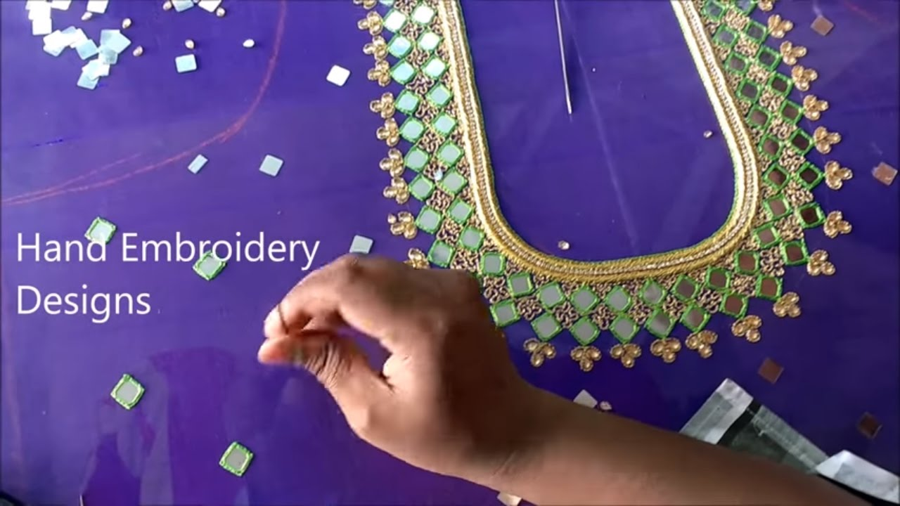 Mirror Work Embroidery Designs Blouse Hand Embroidery