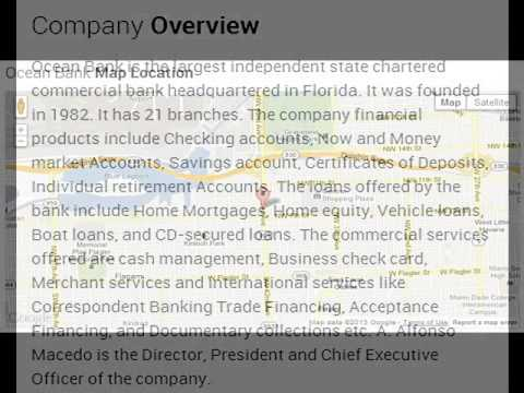 Ocean Bank Corporate Office Contact Information