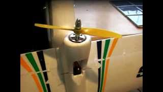 bixler 2 rc glider thrust test 2200kv 7x4 prop