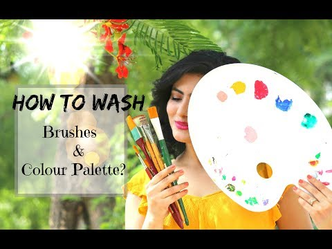 How to wash Brushes and Colour Palette after using Acrylic Colours?