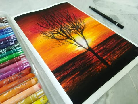 How to Draw|Easy Oil Pastel Drawing for kids|Landscape|Sunset|Tutorial|Relaxing Background Music