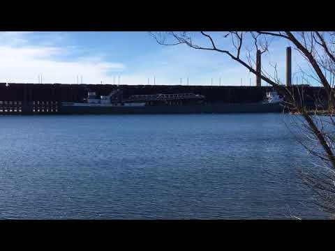 Marquette, Michigan. Ore dock with Michipicoten ore carrier ship docking.  10/10/17.