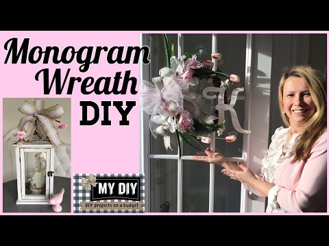 Monogram Wreath DIY for front door / QUICK & CHEAP!