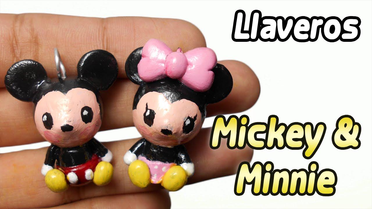 Mickey and Minnie Polymer Clay Tutorial | Llaveros | Porcelana Fria ...
