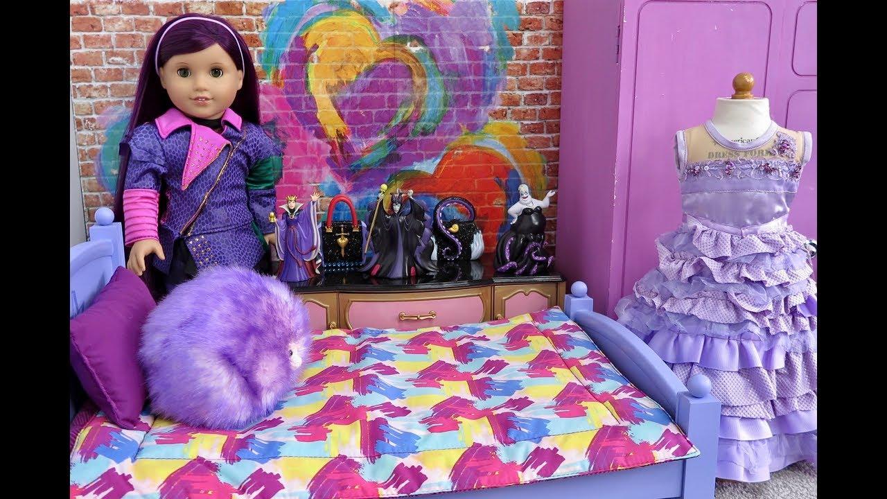 american girl doll disney descendants mal 39 s bedroom youtube. Black Bedroom Furniture Sets. Home Design Ideas