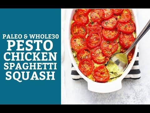 Pesto Chicken Spaghetti Squash (Paleo & Whole30)