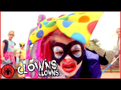 Thumbnail: Scary Killer Clown: The ZOMBIE Killer Clowns w The Flash Zombies In Real Life Movie SuperHero Kids