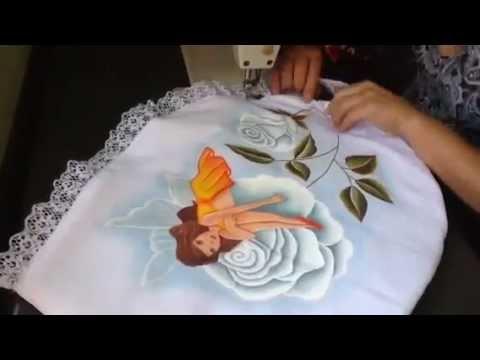 Pintura en tela como armar un juego de baño con cony - YouTube