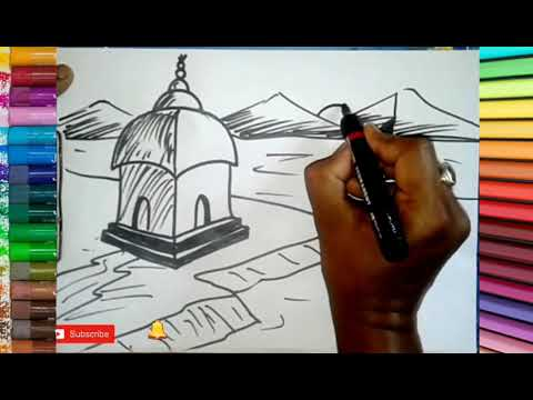 Drawing Easily A Landscape With Temple || How To Draw  Temple || Tutorial ||