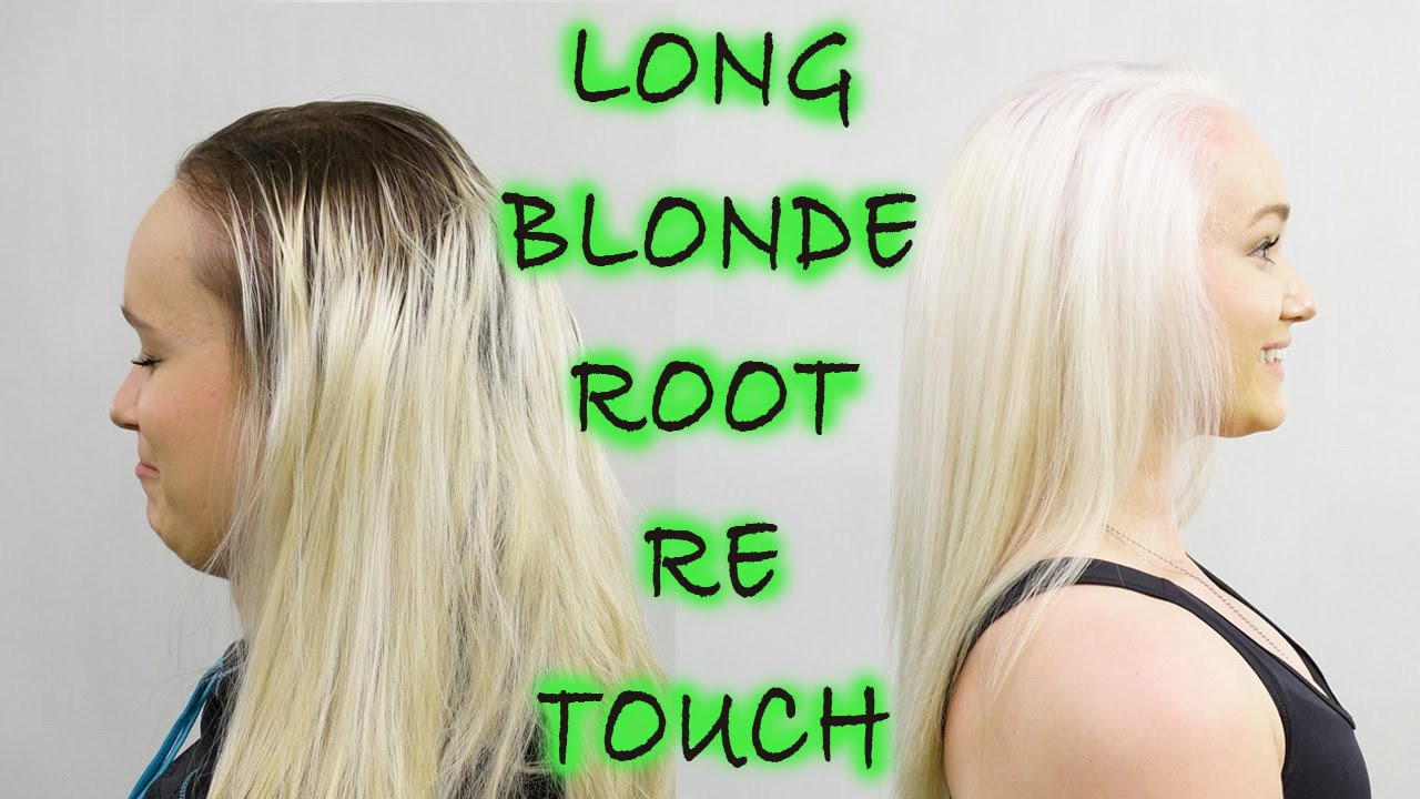 LONG BLONDE ROOT RETOUCH WITH OLAPLEX - YouTube