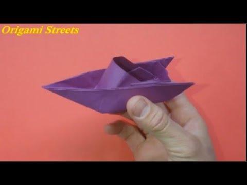 Как сделать катер из бумаги. Оригами катер из бумаги.