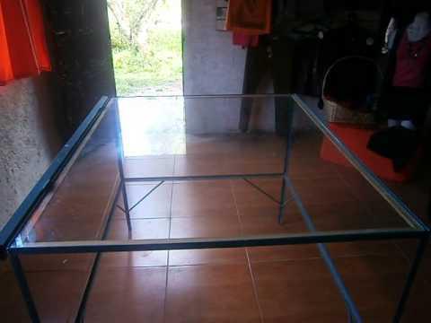 Mesas base hierro superior Vidrio Grueso  YouTube