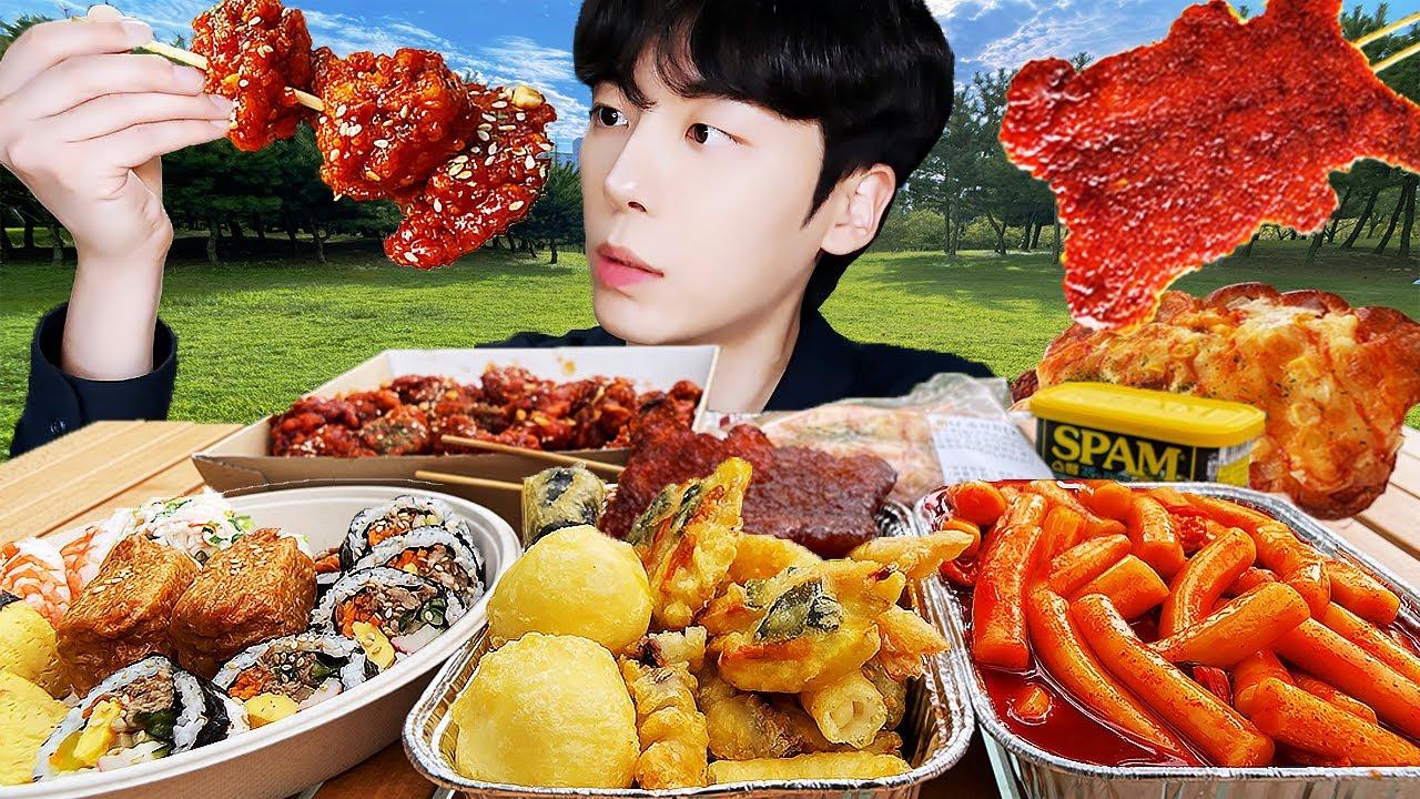ASMR MUKBANG | 직접 만든 양념치킨 떡볶이 스팸 계란 김밥 야외 먹방 FRIED CHICKEN AND RICE CAKE Tteokbokki
