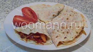 Закуска в лаваше с курицей и овощами