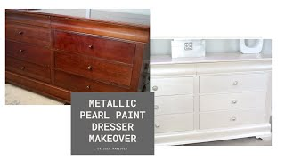 DRESSER MAKEOVER USING PEARL METALLIC PAINT AND CHALK PAINT