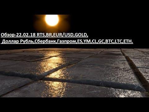 Обзор-22.02.18 RTS,BR,EUR/USD,GOLD, Доллар Рубль,Сбербанк,Газпром,ES,YM,CL,GC,BTC,LTC,ETH.