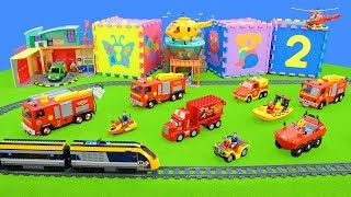 Fireman Sam: Fire Engine Transport with a Train | Truck Toys Unboxing Movie for Kids