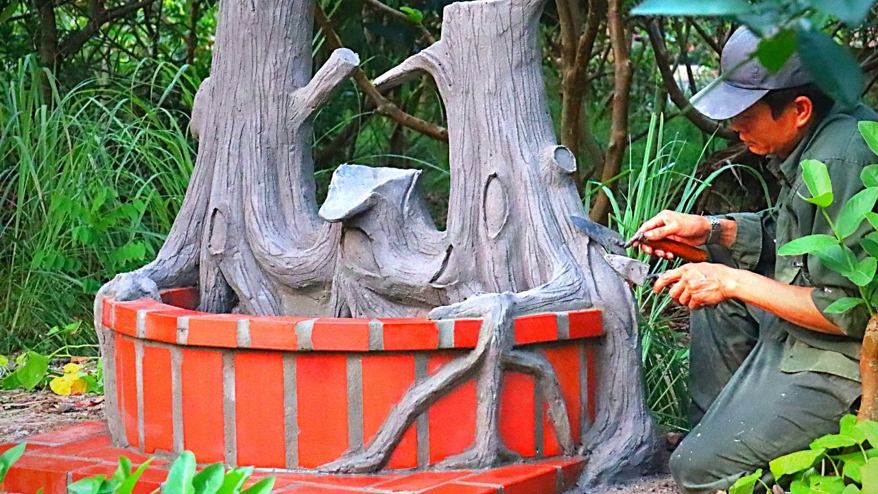 Garden Designs | Design Aquarium under the Old AppleTree with Cement and Brick