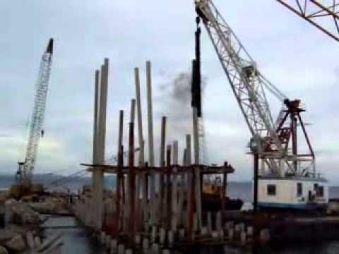 Delayed sound   off shore pile driver