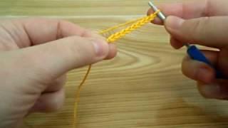 Вязание крючком для начинающих. Цепочка из воздушных петель.