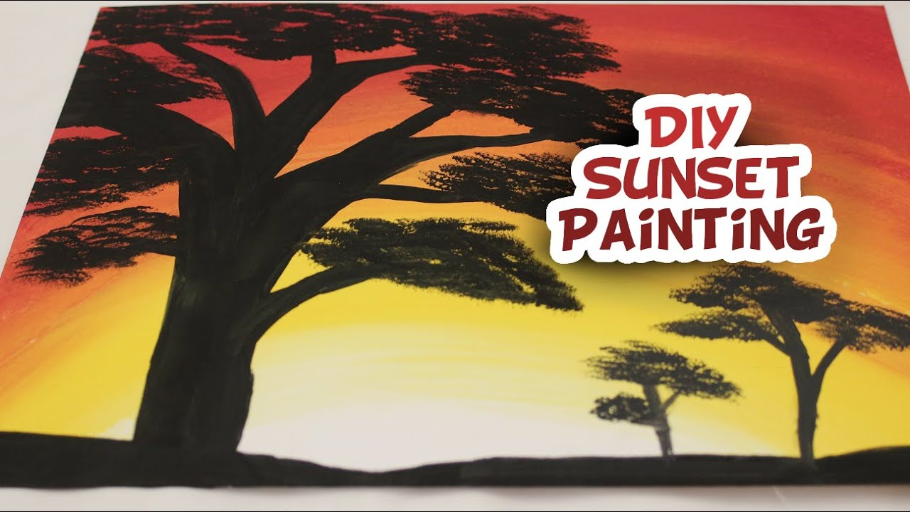 DIY Sunset Silhouette Painting {EASY} - Whitney Crafts - YouTube