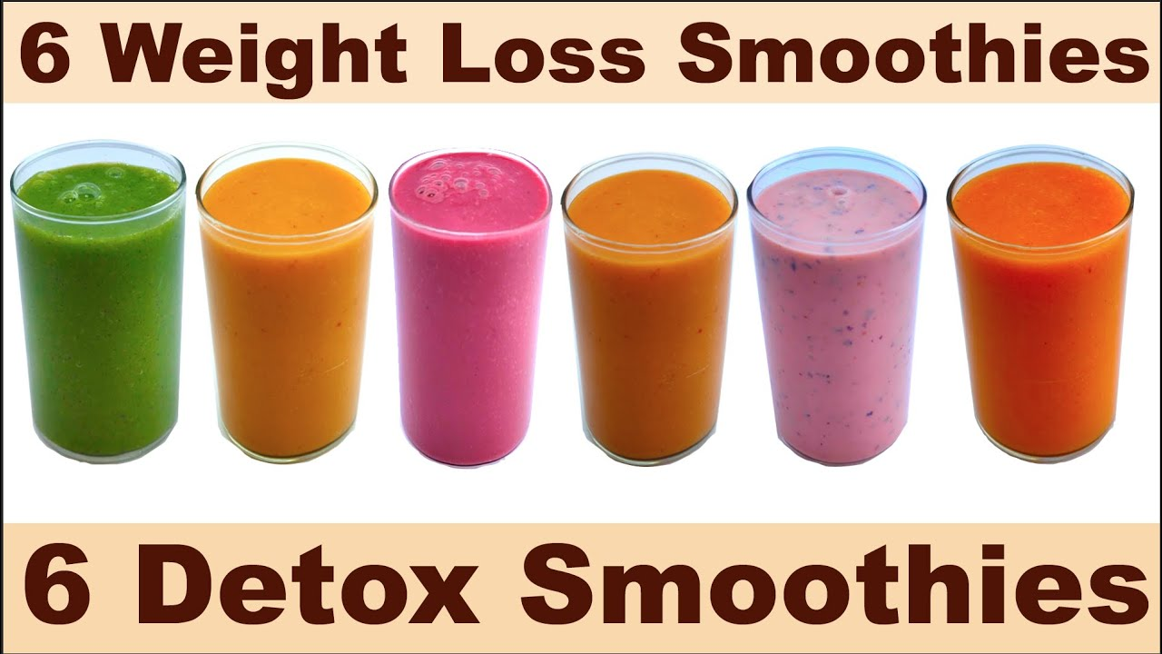 6 Weight Loss Smoothies Detox Smoothies Healthy Mix Fruit Smoothies Youtube