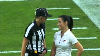Jen Walter Arizona Cardinals Coach And Sarah Thomas NFL Official Chat Before Game