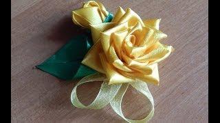 Цветы из ткани. Как сделать розу из узкой атласной ленты.DIY.Rose(, 2014-07-06T16:45:15.000Z)