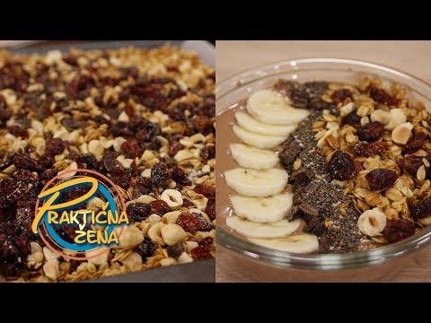 Praktična žena - 1. Domaća granola 2. Čokoladna smuti činija