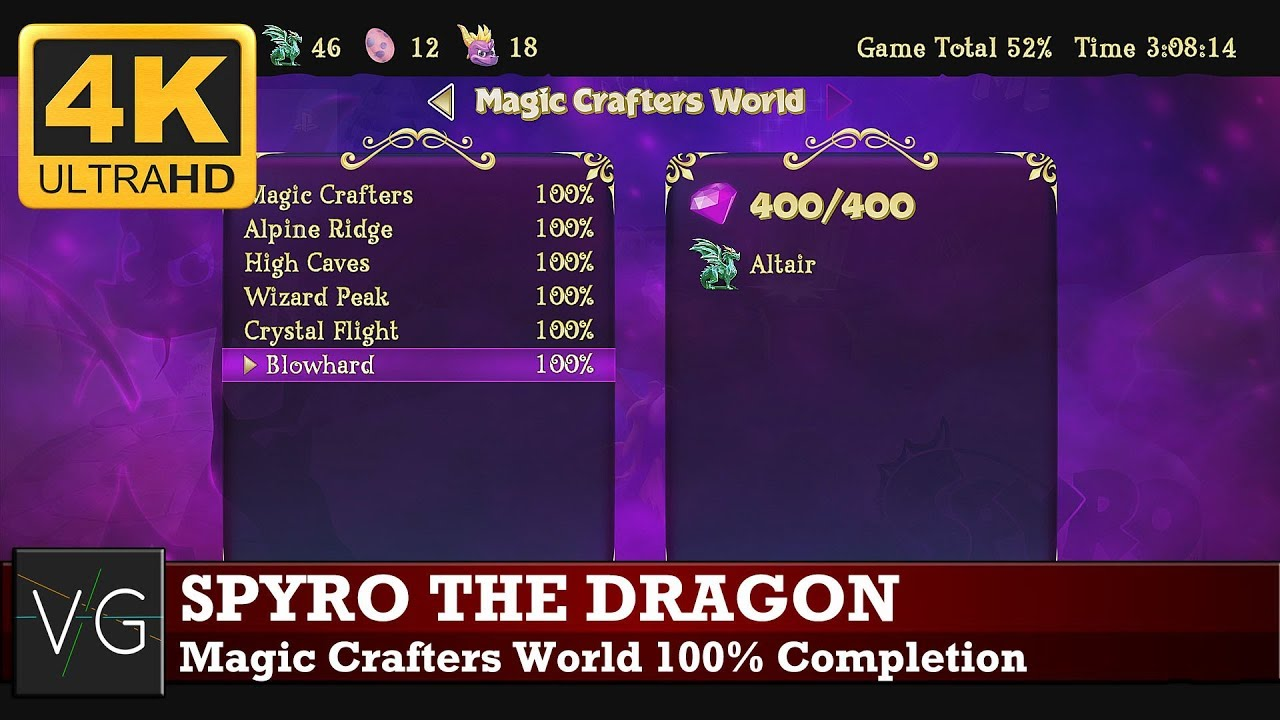 Spyro The Dragon Magic Crafters World 100 Completion All Gems