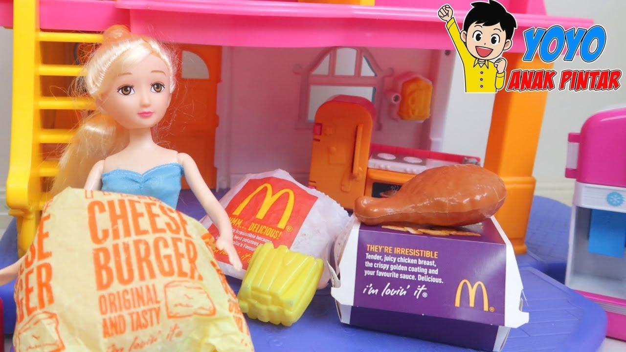 Boneka Barbie Beli Makanan Mcdonald Burger Kentang Goreng Cerita Barbie Doll Indonesia Youtube
