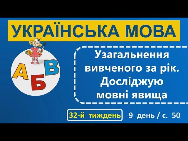 1 клас. Українська мова. Узагальнення вивченого за рік. Досліджую мовні явища.