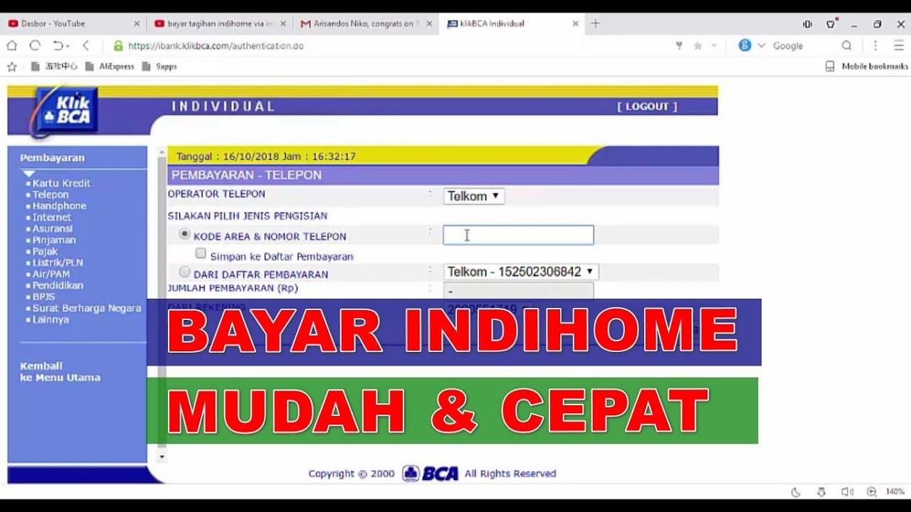 Bayar Indihome Mudah pake Internet Banking BCA KlikBCA