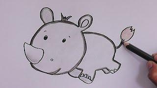 Dibujando y coloreando a Rinoceronte Bebé - Drawing and coloring Baby Rhino