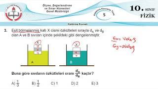 10.Sınıf MEB Okul Kursu Fizik K.K.Testi 05 (Sıvıların Kaldırma Kuvveti)