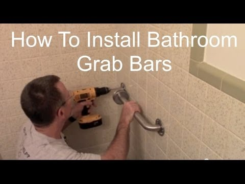 installing a grab bar in a tile shower How To Install Bathroom Grab Bars   YouTube installing a grab bar in a tile shower