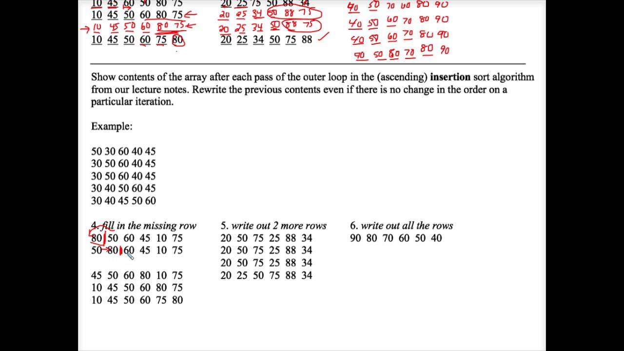 java sorting tracing worksheet 1 youtube