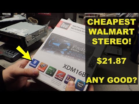 CHEAPEST CAR STEREO AT WALMART, How Bad Is It? | Headunit | Radio | DUAL XDM16BT