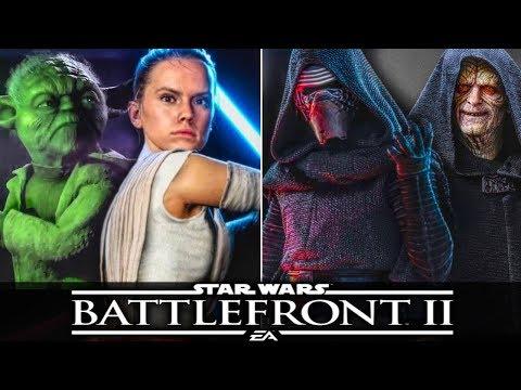 STAR WARS BATTLEFRONT 2 ALL HEROES Gameplay Rey, Luke, Yoda, Kylo Ren, Darth Vader, Palpatine