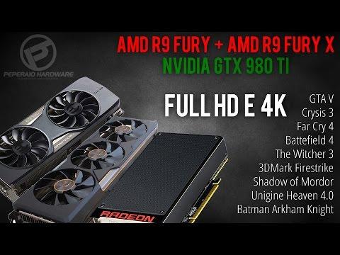 AMD R9 Fury vs R9 Fury X + comparativo GTX 980 Ti - 9 Testes Full HD e 4K (PT-BR)